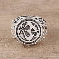 Sterling silver signet ring, 'Om Classic' - Om Pattern Sterling Silver Signet Ring from India