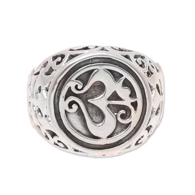 Sterling silver signet ring, 'Om Classic' - Om Pattern Sterling Silver Signet Ring from India