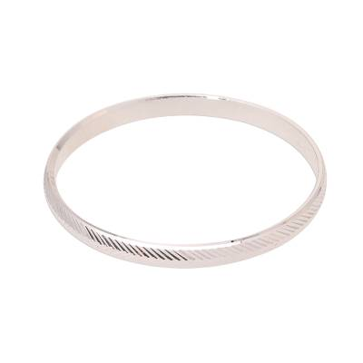Sterling silver bangle bracelet, 'Herringbone Gleam' - Herringbone Pattern Sterling Silver Bangle Bracelet