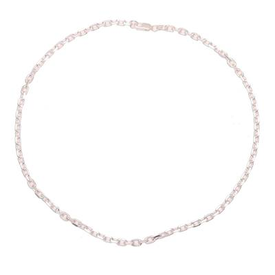 Sterling silver chain necklace, 'Bold Sheen' - Sterling Silver Cable Chain Necklace from India