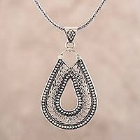 Sterling silver pendant necklace, 'Drop Majesty' - Drop-Shaped Sterling Silver Pendant Necklace from India