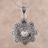 Sterling silver pendant necklace, 'Artisanal Flower' - Artisan Crafted Sterling Silver Pendant Necklace from India