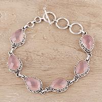 Chalcedony link bracelet, 'Glossy Pink' - 22-Carat Pink Chalcedony Link Bracelet from India