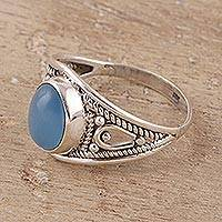 Chalcedony cocktail ring, 'Gleaming Appeal' - Oval Chalcedony Cocktail Ring Crafted in India
