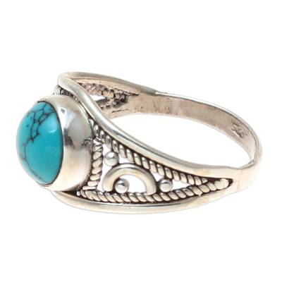 Sterling Silver and Reconstituted Turquoise Cocktail Ring