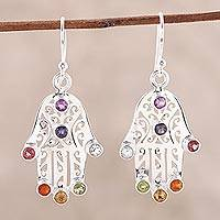 Multi-gemstone dangle earrings, 'Hamsa Chakra' - Multi-Gemstone Hamsa Chakra Dangle Earrings from India
