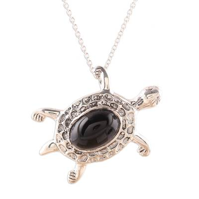 Onyx pendant necklace, 'Magical Turtle' - Black Onyx Turtle Pendant Necklace from India
