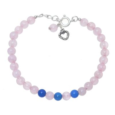 Rose Quartz and Chalcedony Beaded Bracelet from India