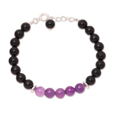 Amethyst and Onyx Beaded Bracelet from India