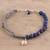 Lapis lazuli beaded macrame bracelet, 'Pretty Heart' - Lapis Lazuli Beaded Macrame Heart Bracelet from India (image 2b) thumbail