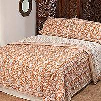 Cotton duvet cover and pillow shams, 'Floral Collection' (3 piece) - Block-Printed Cotton Duvet Cover and Shams (3 Piece)