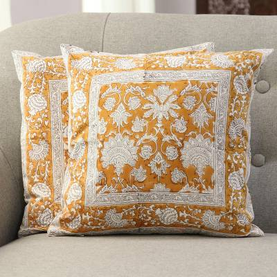 Cotton cushion covers, 'Floral Amber' (pair) - Floral Motif Block-Printed Cotton Cushion Covers (Pair)
