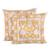Cotton cushion covers, 'Floral Amber' (pair) - Floral Motif Block-Printed Cotton Cushion Covers (Pair) thumbail