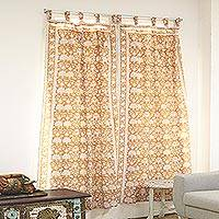 Block-printed cotton curtains, 'Earthy Blossoms' (pair) - Floral Cotton Curtains in Chestnut and Honey (Pair)