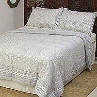 Block-printed cotton duvet cover and pillow sham set, 'Block Print Paradise' (3 piece) - Cadet Blue Block-Printed Cotton Duvet Cover and Sham Set (3)