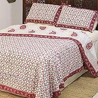 Cotton duvet cover and pillow sham set, 'Jaipur Blooms' (3 piece) - Flower Motif Cotton Duvet Cover and Sham Set (3 Piece)