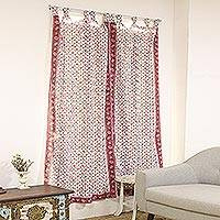 Block-printed cotton curtains, 'Jaipur Blossoms' (pair) - Block-Printed Floral Cotton Curtains from India (Pair)