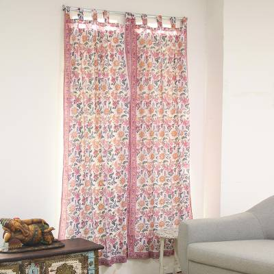 Block-printed cotton curtains, 'Festive Blossoms' (pair) - Floral Motif Block-Printed Cotton Curtains from India (Pair)