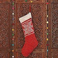 Knit stocking, 'Snowflake Charm' - Snowflake Pattern Knit Stocking in Poppy from India