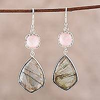 Labradorite and rose quartz dangle earrings, 'Aurora Sophistication' - Labradorite and Rose Quartz Dangle Earrings from India