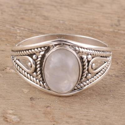 Rainbow moonstone cocktail ring, 'Gleaming Appeal' - Oval Rainbow Moonstone Cocktail Ring from India