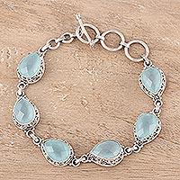 Chalcedony link bracelet, 'Glossy Blue'