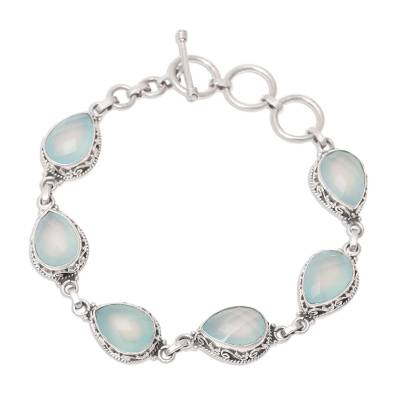 Chalcedony link bracelet, 'Glossy Blue' - Faceted Blue Chalcedony Link Bracelet from India