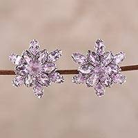 Rhodium plated amethyst button earrings, 'Purple Burst'