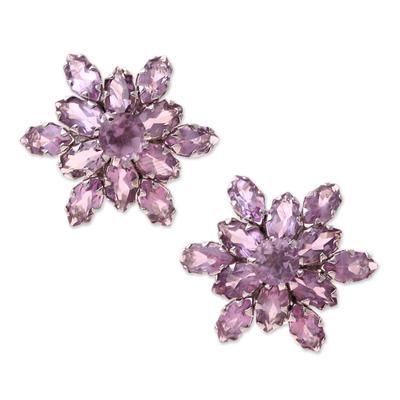 Rhodium plated amethyst button earrings, 'Purple Burst' - 13.5-Carat Rhodium Plated Amethyst Button Earrings