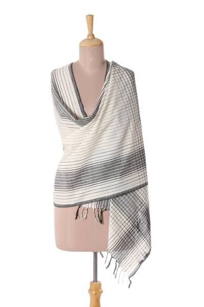 Cotton shawl, 'Classic Design' - Ivory and Black Cotton Shawl Crafted in India