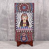 Wood wall art, 'The Gypsy Girl' - Signed Wood Wall Art of Gypsy Woman from India