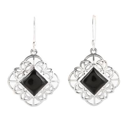 Onyx dangle earrings, 'Magical Squares' - Square Onyx Dangle Earrings from India
