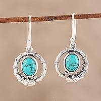 Sterling silver and composite turquoise dangle earrings, 'Coiled Beauty' - Sterling Silver and Composite Turquoise Dangle Earrings