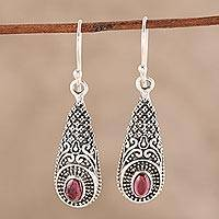Garnet dangle earrings, 'Regal Drops' - Patterned Garnet Dangle Earrings from India