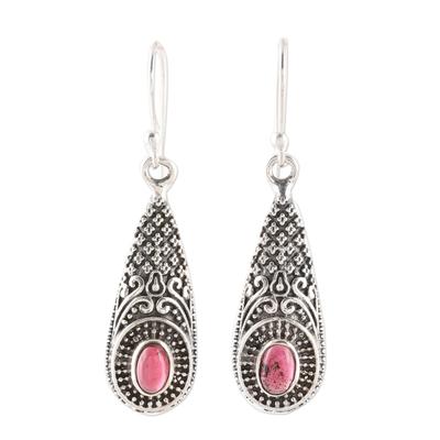 Garnet dangle earrings, 'Regal Drops' - Patterned Garnet Dangle Earrings from India