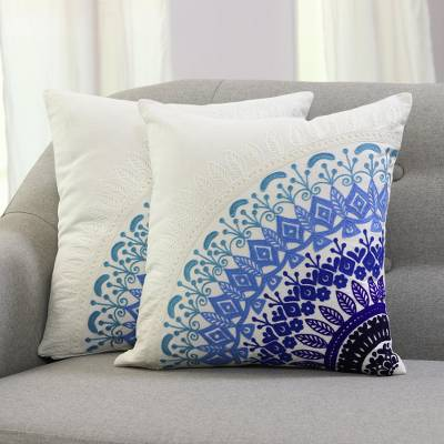 Cotton cushion covers, Divine Orchard in Blue (pair)