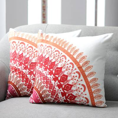 Embroidered Cotton Cushion Covers In Pink From India Pair Divine Orchard In Pink Novica