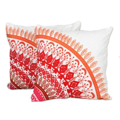 Cotton cushion covers, 'Divine Orchard in Pink' (pair) - Embroidered Cotton Cushion Covers in Pink from India (Pair)