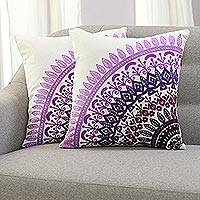 Cotton cushion covers, 'Divine Orchard in Purple' (pair) - Embroidered Cotton Cushion Covers in Purple (Pair)