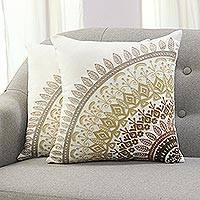 Cotton cushion covers, 'Divine Orchard in Brown' (pair) - Embroidered Cotton Cushion Covers in Brown from India (Pair)
