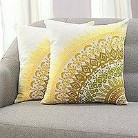 Cotton cushion covers, 'Divine Orchard in Yellow' (pair)