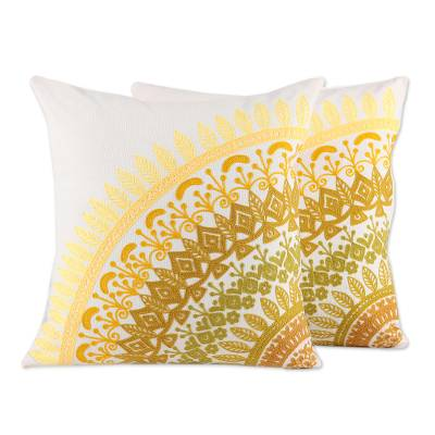 Cotton cushion covers, 'Divine Orchard in Yellow' (pair) - Embroidered Cotton Cushion Covers in Yellow (Pair)
