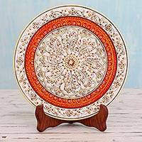 Marble decorative plate, 'Festive Jaipur' - Gold-Tone Floral Marble Decorative Plate from India