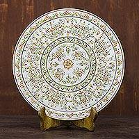 Marble decorative plate, 'Golden Celebration' - Floral Motif Marble Decorative Plate from India