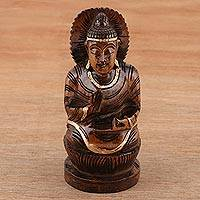 Wood statuette, 'Leading Buddha' - Hand-Carved Kadam Wood Buddha Statuette from India