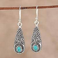 Sterling silver and composite turquoise dangle earrings, 'Regal Drops' - Sterling Silver and Composite Turquoise Dangle Earrings