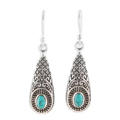 Sterling Silver and Composite Turquoise Dangle Earrings