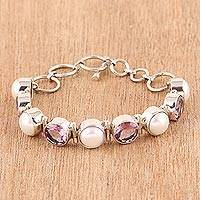 Amethyst and cultured pearl link bracelet,