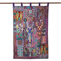 Recycled cotton blend wall hanging, 'Purple Garden' - Cotton Blend Patchwork Wall Hanging in Purple from India