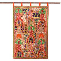 Recycled cotton blend wall hanging, 'Floral Dazzle' - Recycled Cotton Blend Patchwork Wall Hanging from India